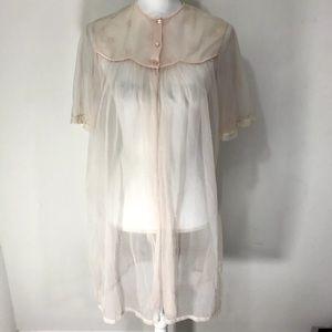Vintage 60s nightgown peignoir blush pink